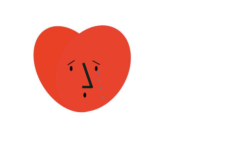 ein Herz mit traurigem Gesicht